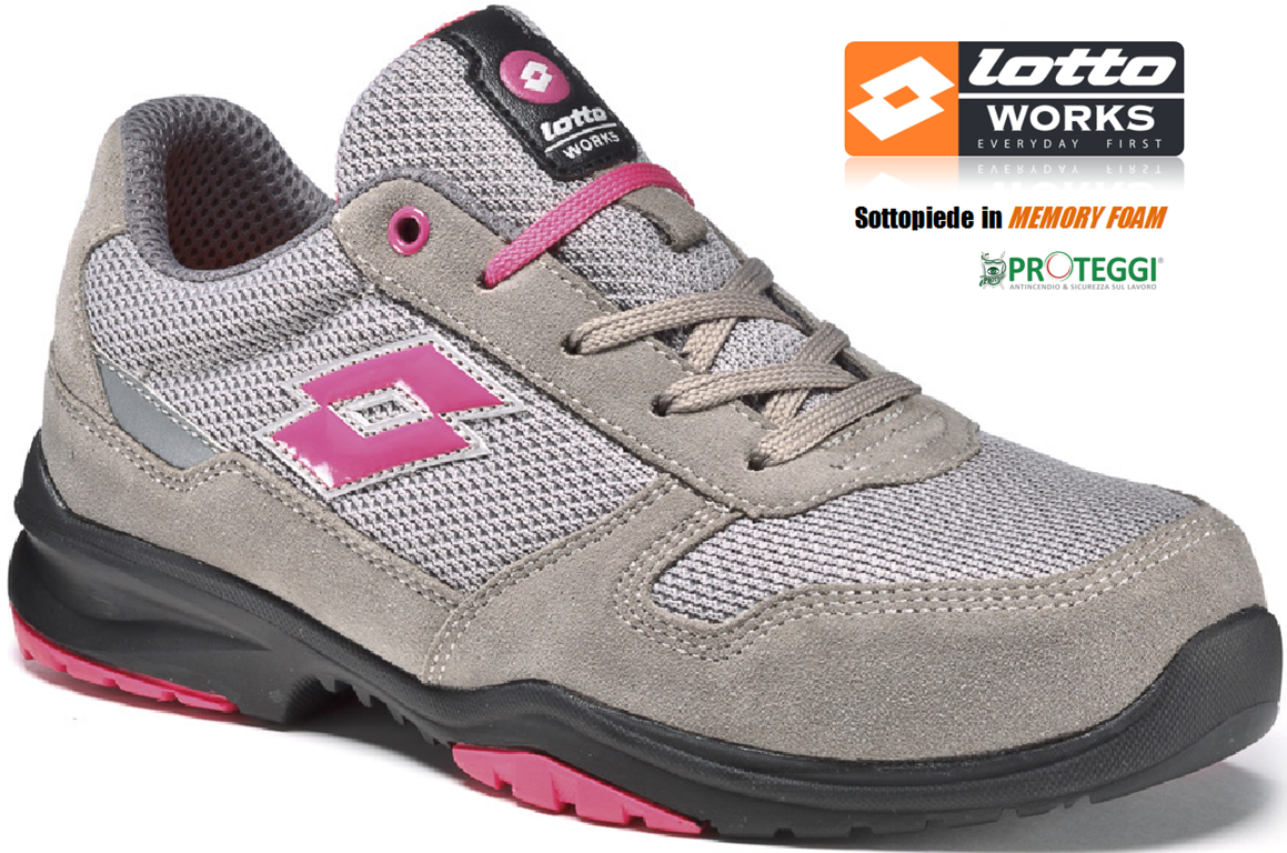 Scarpe antinfortunistiche Lotto Works FLEX EVO 500 S1P Grigio Rosa - Memory  Foam
