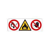 cartello con 3 simboli, in alluminio spessore 0,5 mm misura 350 X 125 abbinabile ai cartelli: CS10201K - CS10201W - CS4807